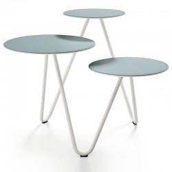 Tavolino da caffè con piano in cuoio/ceramica - Apelle Trio