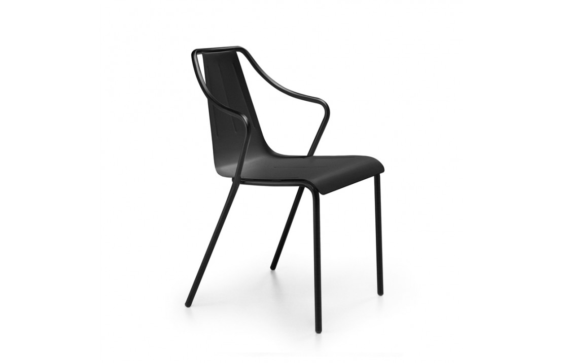Outdoor Stackable metal chair with armrests - Ola