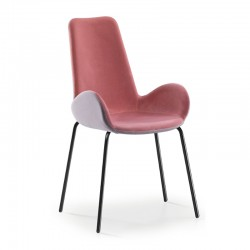 Padded chair with painted steel legs - Dalia PA MT