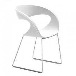 Sedia in baydur / imbottita con gambe a slitta - Raff