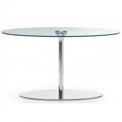 Tavolo tondo con piano vetro Ø100 - Infinity