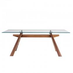Tavolo con gambe in legno e piano in vetro/legno - Zeus