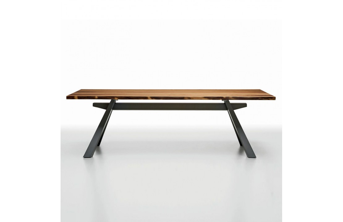 Table With Metal Legs And Glass Wood Top