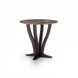 Elizabeth wood round coffee table with marble top