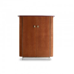 Alexander wine cabinet covered in leather with marble top