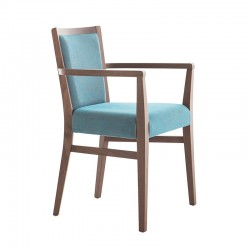 Moma Soft chair with armrests in fabric or synthetic leather