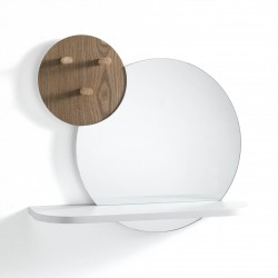Round mirror with shelf and...