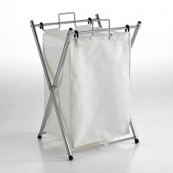 Folding laundry basket in metal and cotton