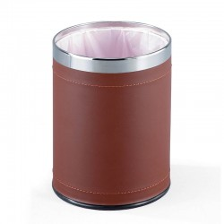 Wastepaper basket steel/eco-leather