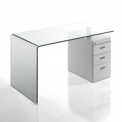 Glass desk with white pedestal