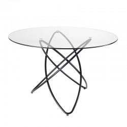 Tavolo da pranzo tondo con top in vetro