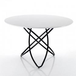 Tavolo tondo con piano laccato