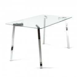 Table/desk in metal w/glass top