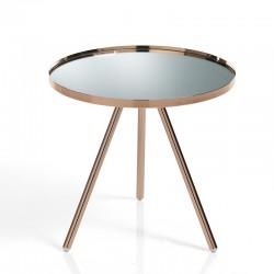 Tavolino/comodino rame e piano vetro