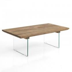 Tavolino in vetro e legno massello