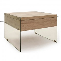 Bedside table in glass and MDF