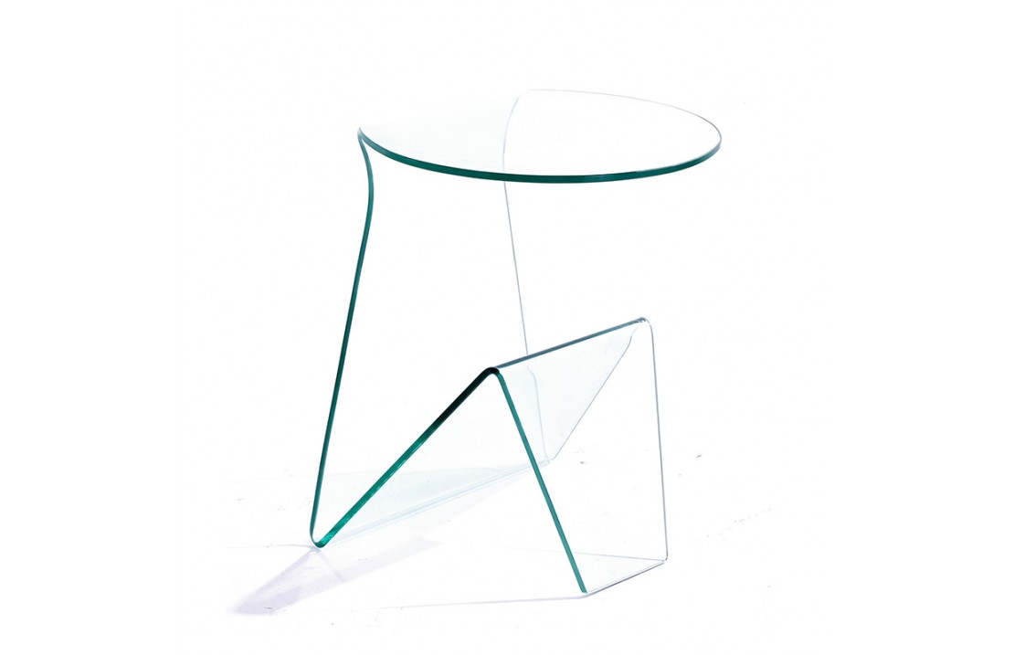 Coffee table in glass with magazine rack