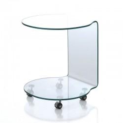 Tavolino in vetro con ruote