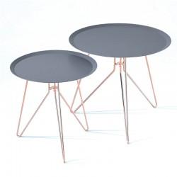 Set 2 tavolini da caffè in rame con piano antracite