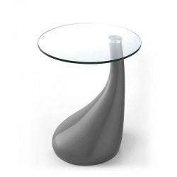 Tavolino in vetro e resina colorata