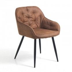 Padded easy chair upholstered in eco-leather