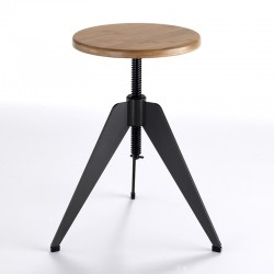 Industrial Stool in wood and metal