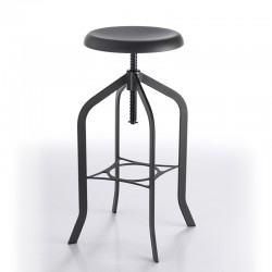 Stool with adjustable height - industrial black