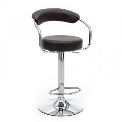 Stool adjustable height in metal and eco-leather