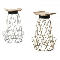 Stool in metal and solid wood - Tutù