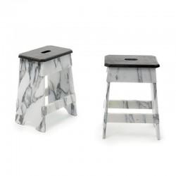 Low stool in Carrara marble...