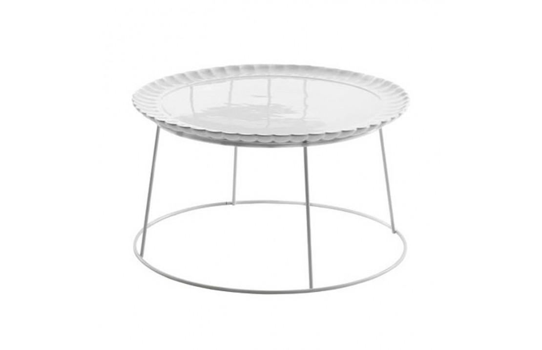 Tavolino Lotus L in metallo bianco