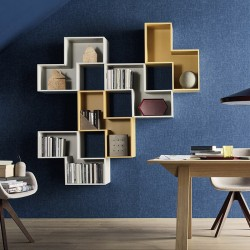 Wall-mounted bookcases with open units - Tetris