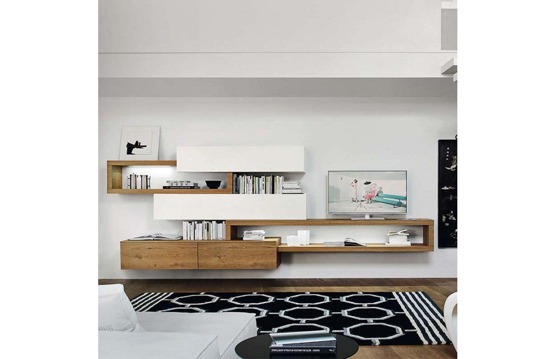 Living Room Tv Cabinet With Shelves And Wall Units Lampo 2