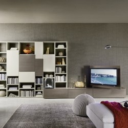 Modo composition bookcase with rotating TV panel