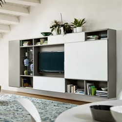 Modo composition bookcase with sliding doors