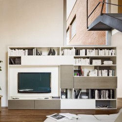 Modo composition bookcase with drop-down desk