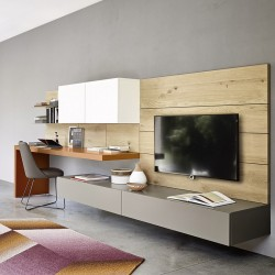Living room cabinet with desk and boiserie - Lampo 9