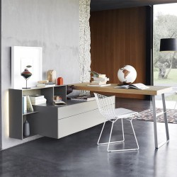Desk with Chest of Drawers and open compartment - Ecletto
