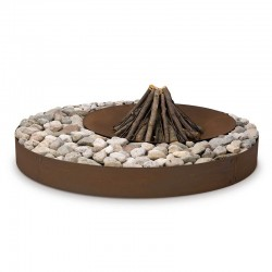 Zen wood-burning outdoor fire pit in steel