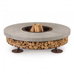 Ercole Concrete burning fire pit in concrete and steel