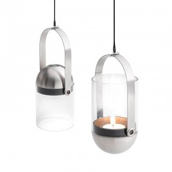 Gravity suspended lantern in steel