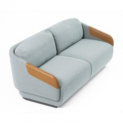 Removable sofa with eco-leather armrests - Worn