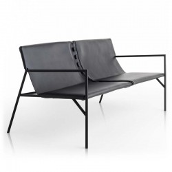 Sofa in leather and metal - Tout Le Jour