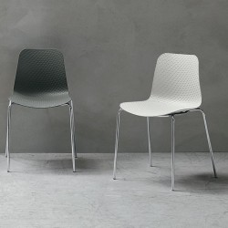 Stackable chair with metal...