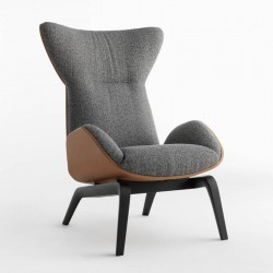 Armchair in solid wood and leather - Soho
