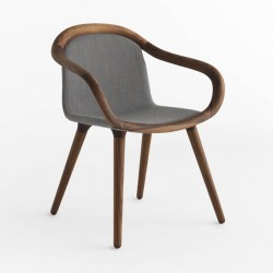 Padded armchair in walnut wood - Ginevra