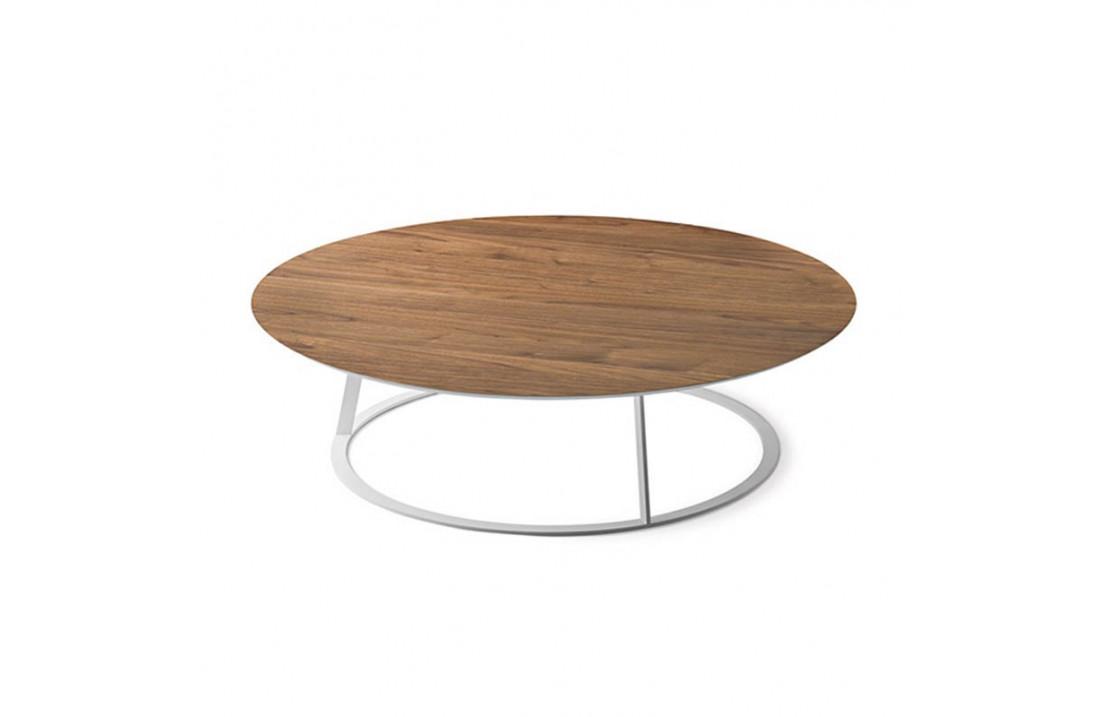 Tavolino Tondo In Legno E Metallo Albino