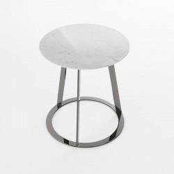 Tavolino tondo in marmo e metallo - Albino