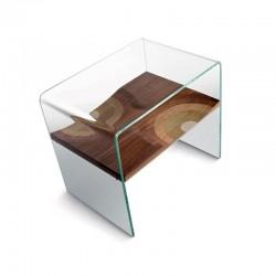 Comodino / tavolino in legno e vetro - Bifronte