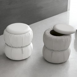Pouf with container in eco-leather - Pascià
